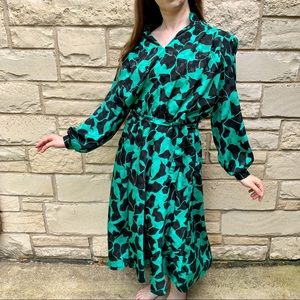 Vintage 1980s Green Abstract Floral Dress